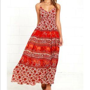 Raga Anaya Red Floral Backless Maxi Dress Small